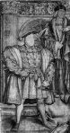 King Henry VIII (front) with his father, King John VII (back) - mural by Holbein