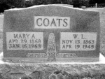 "Mary Alice (Burch) and Wilson Lafayette ""Fate"" Coats Headstone, Pine Lawn Cemetery, Houston, Texas County, Missouri"
